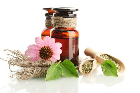 medicine bottles with purple echinacea , isolated on white Stock Photo - 16106855