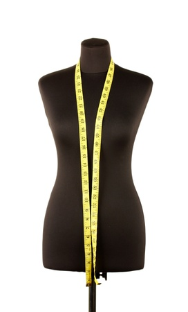 bespoke: empty black mannequin with measuring tape isolated on white