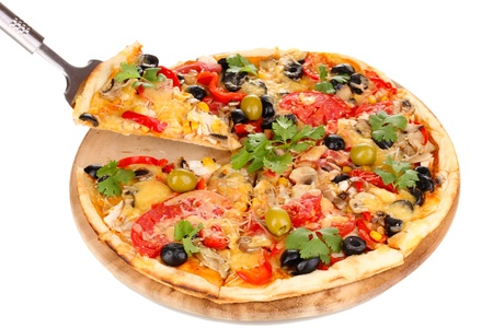 Tasty pizza with vegetables, chicken and olives isolated on white photo