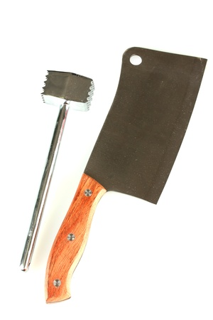 Ņhatchet: meat hammer with meat hatchet isolated on white background