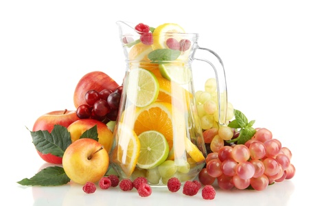 transparent jar with exotic  fruits, isolated on white Stock Photo - 16106830