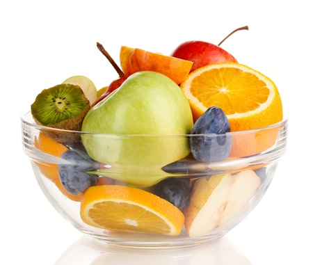 Glass bowl with fruit for diet isolated on white Stock Photo - 16106740