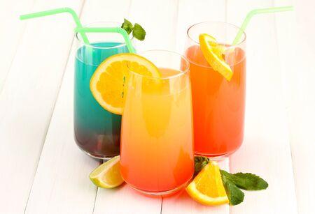 Three cocktails on white background Stock Photo - 16191023