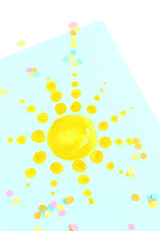 Sun painting on blue background photo