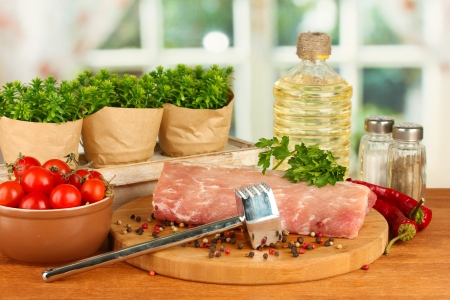 composition of raw meat, vegetables and spices on wooden table close-up Stock Photo - 16195306