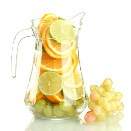 transparent jar with citrus fruits and grape, isolated on white Stock Photo - 16194739