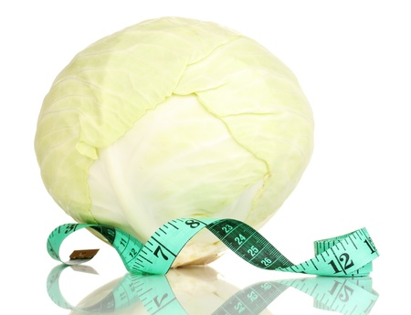 scrawny: cabbage with measuring tape isolated on white
