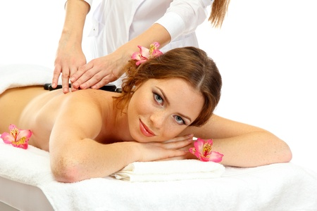 beautiful young woman in spa salon getting massage with spa stones Stock Photo - 17131468