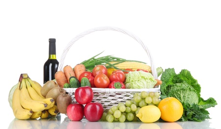 Composition with vegetables and fruits in wicker basket isolated on white Stock Photo - 16194699