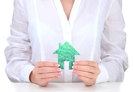 concept: woman hands with paper house, close up Stock Photo - 16194709