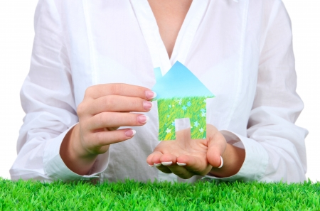 concept: woman hands with paper house, close up Stock Photo - 16194799