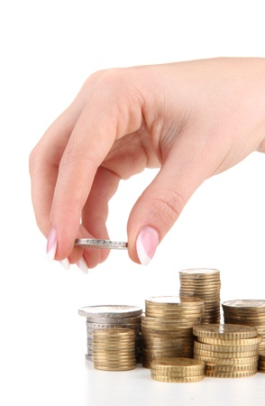 Woman hand with coins, close up Stock Photo - 16194674