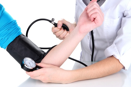 high blood pressure: Blood pressure measuring isolated on white
