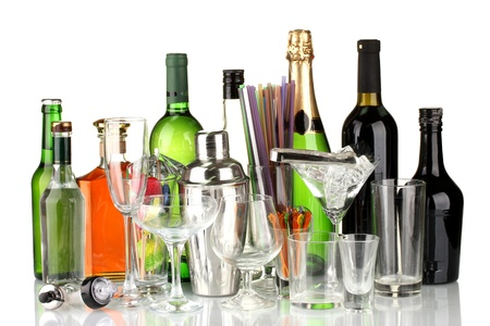 Collection of various glasses and drinks isolated on white Stock Photo - 16196367