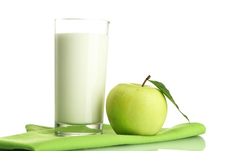 Glass of kefir and green apple, isolated on white Stock Photo - 16244434