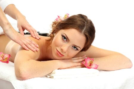 beautiful young woman in spa salon getting massage with spa stones Stock Photo - 17131476