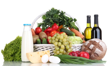 Composition with vegetables and fruits in wicker basket isolated on white Stock Photo - 16244542