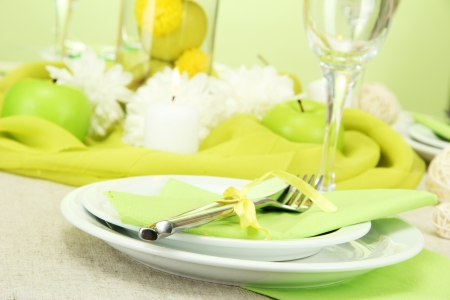 beautiful holiday table setting with apples, close up photo