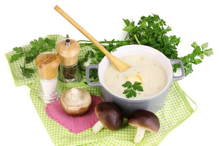 nutritiously: Mashed potatoes in saucepan with ingredients isolated on white