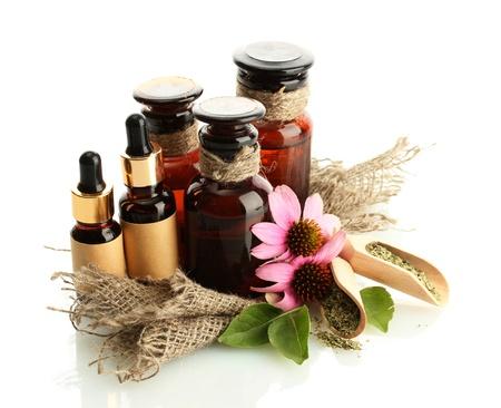 medicine bottles with purple echinacea , isolated on white Stock Photo - 16277529