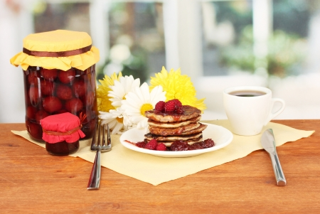 delicious sweet pancakes on bright background photo