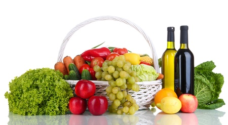 Composition with vegetables and fruits in wicker basket isolated on white Stock Photo - 16277538