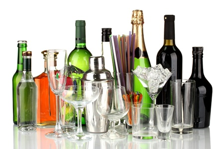 Collection of various glasses and drinks isolated on white Stock Photo - 16278664