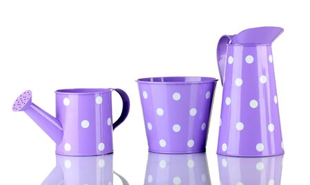 Purple watering can and buckets with white polka-dot isolated on white photo