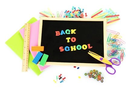 Small chalkboard with school supplies on white background. Back to School Stock Photo - 16281441