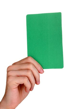 hand holding green card isolated on white Stock Photo - 16282205