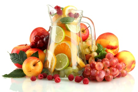 transparent jar with exotic  fruits, isolated on white Stock Photo - 16291952