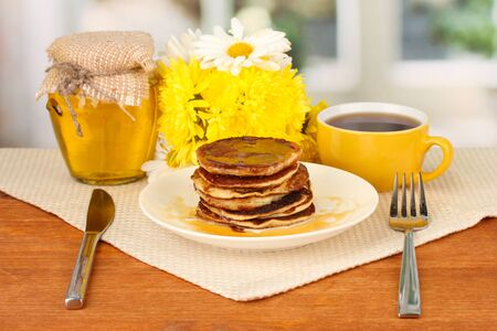 delicious sweet pancakes on bright background Stock Photo - 16292074