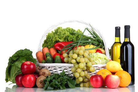 Composition with vegetables and fruits in wicker basket isolated on white Stock Photo - 16282308