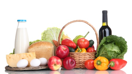 Composition with vegetables and fruits in wicker basket isolated on white Stock Photo - 16281355
