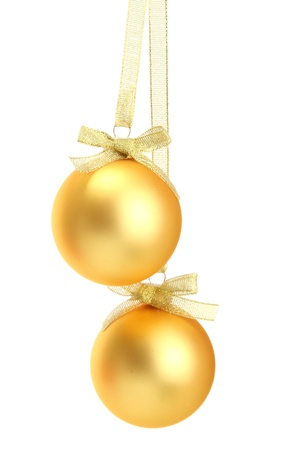 gold bow: beautiful christmas balls, isolated on white