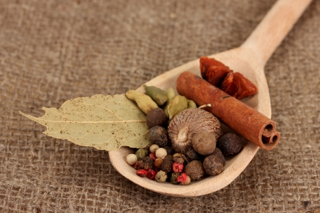 Nutmeg and other spices on sackcloth background photo