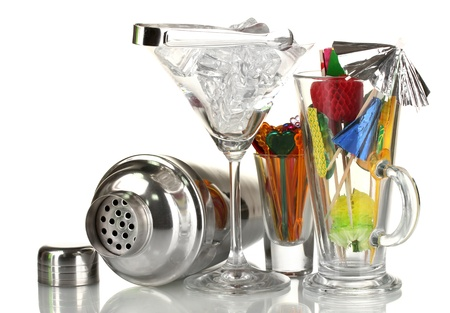 Cocktail shaker and  other bartender equipment isolated on white photo