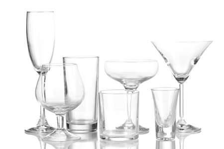Collection of various glasses isolated on white Stock Photo - 16280895