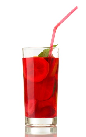 sangria in glass, isolated on white photo