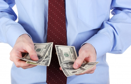 man recounts dollars close-up Stock Photo - 16329524