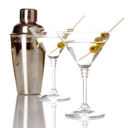 Martini glasses with olives and shaker isolated on white Stock Photo - 16339755