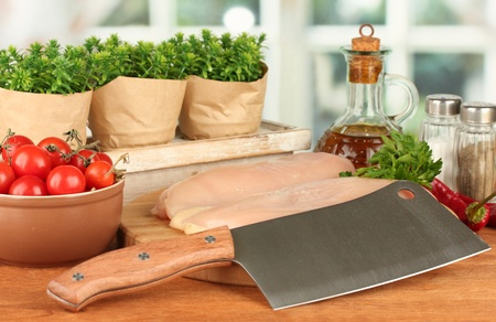 composition of raw meat, vegetables and spices on wooden table close-up Stock Photo - 16340923