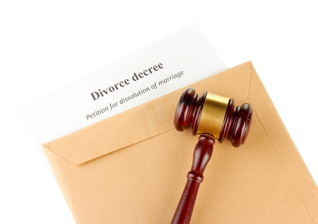 decree: Divorce decree and envelope on white background Stock Photo