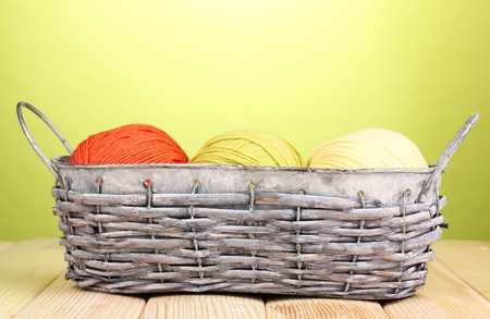 Bright threads in basket on wooden table on green background photo