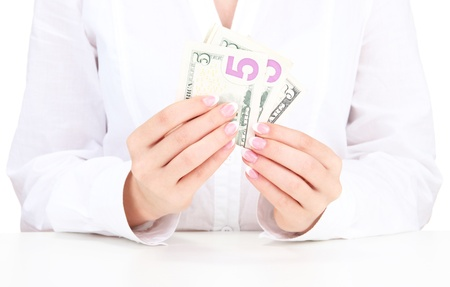 conserving: American dollars in a women hands, close up Stock Photo