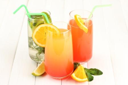 Three cocktails on white background Stock Photo - 16339548