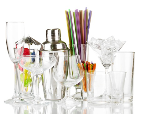 Cocktail shaker and glasses isolated on white Stock Photo - 16339501