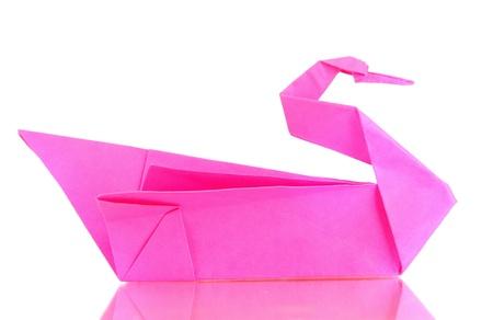 Origami swan isolated on white photo