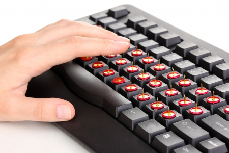 Painful typing on keyboard close-up Stock Photo - 16342061