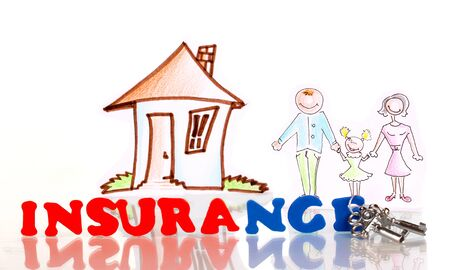 property insurance: concepto de seguro de hogar aislado en blanco